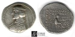 Ancient Coins - Item #19668, Parthia AR Phraates III (Darius?) 70-57 BC, drachm, Sellwood 36.6, Ecbatana mint, Early type for this king, IMPRESSIVE early rare portrait of the ruler.