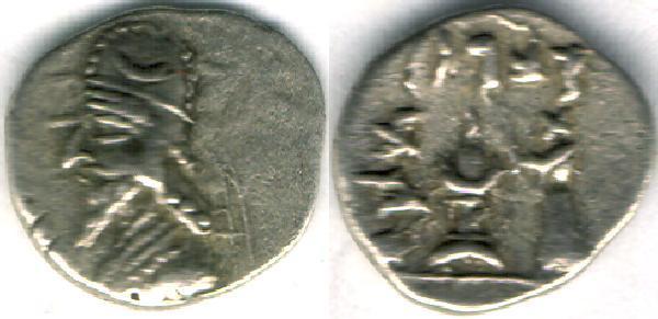 Ancient Coins - Item #4783, Kings of Persis, Darev II (Darius II) 100-1 BC AR obol, Alram 566, crescent on the crown, Tyler-Smith NC (2004) 36