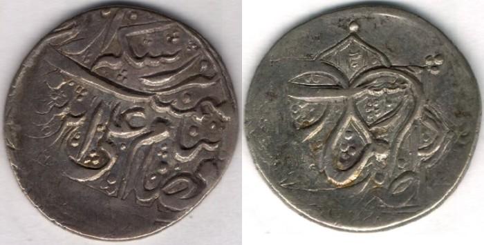 "Ancient Coins -       Item #35345 Agha Muhammad Khan Qajar (AH 1193-1211) Silver 6-shahi (Abbasi), Rasht mint. type ""A"", Exceptionally rare dated abbasi (RRR+), KM #601var."