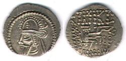 Ancient Coins - Item #19478, Parthian Kings: Arsaces XLIII: Vologases VI (A.D 208-228), AR drachm, Sellwood #88.18, Ecbatana mint, Rare XF+ rare coin