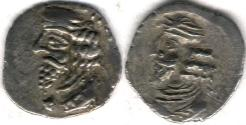 Ancient Coins - Item #47121 Kings of Persis, Pakor I ca. 1st half of first century AD AR obol, Alram 590, Tyler-Smith NC (2004) #155, two sided images of kings, A nice scarce example of this type!!