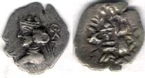 Ancient Coins - Item #4789 Kings of Persis, Artaxerxes II (Ardashir) ca. 2nd half of first century BC AR OBOL, Alram 578, Tyler-Smith NC (2004) #108,  With a symbol behind bust.