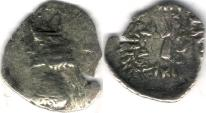 Ancient Coins - Item #4796 Kings of Persis, Artaxerxes II (Ardashir) ca. 2nd half of first century BC AR OBOL, Alram 572/5, NICE TONING!! SCARCE & AFFORDABLE piece of History!!