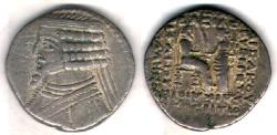 Ancient Coins - ITEM #19623, KINGS OF PARTHIA, PHRAATES IV 38-2 BC., BI TETRADRACHM MINTED IN SELEUCIA, SELLWOOD 51.38 DATED January 23 BC. Shore ----, VERY RARE, hard to find fully dated