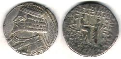 Ancient Coins - ITEM #19621, KINGS OF PARTHIA, PHRAATES IV 38-2 BC., BI TETRADRACHM MINTED IN SELEUCIA, SELLWOOD 51.22 DATED September 26 BC. Shore -271, VERY RARE, Fully dated treasure!
