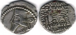 Ancient Coins -       Item #19564, KINGS OF PARTHIA: Vologases III ca 105-147 AD. Drachm (AR; 19X21mm; 3.30gr.) Ecbatana mint, Sellwood 78.7 (rare type)