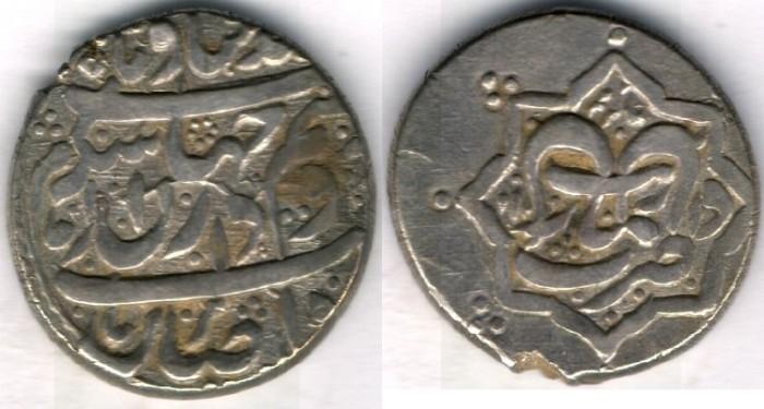 World Coins -    Item #3473, IRANIAN silver coin, Karim Khan Zand, 2-Abbasi, Rasht (11XXAH) Type C, KM #523