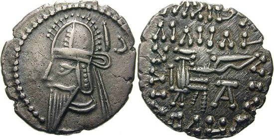 Ancient Coins -  Item #19547, KINGS OF PARTHIA VOLOGASES VI CA 208-228 AD. DRACHM (AR; 18-19MM; 3.69G; 12H) ECBATANA MINT. Sellwood 88.18