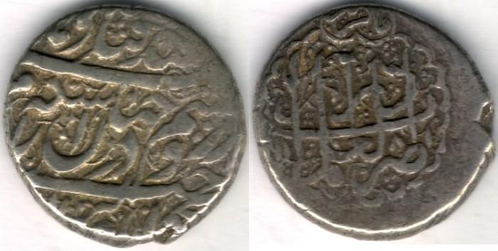 World Coins -    Item #3477, IRANIAN silver coin, Karim Khan Zand, 2-Abbasi, Shiraz (1181AH) Type C, KM #523