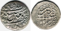 Ancient Coins - ITEM #34104, IRANIAN SILVER COIN, KARIM KHAN ZAND, 2-ABBASI, KIRMAN MINT (AH 1182) TYPE C, KM #523, ALBUM 2796. SCARCE MINT and blundered date
