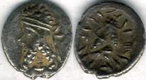 Ancient Coins - Item #47116 Kings of Persis, Napad ca. 2nd half of first century AD AR obol, Alram 614, Tyler-Smith NC (2004) #199, two sided images of kings, very pleasing example of this VERY SCARCE PIECE!