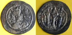 Ancient Coins - ITEM #20123 SASANIAN KINGS OF PERSIA. JAMASP* or ZAMASP (AD 496-498) AR DRACHM, dated year 2 (497), minted in AH (Hamadan), GOBL I/1, VERY RARE