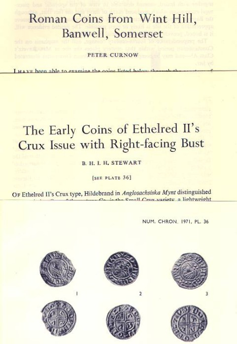 Ancient Coins - Item 3963, Original Off-prints TWO ARTICLES on ROMAN finds in ENGLAND by Peter Curnow & B. H. I. H. Stewart Published in The Numismatic Chronicle Vol. XI, 1971 15 pp. & one plate
