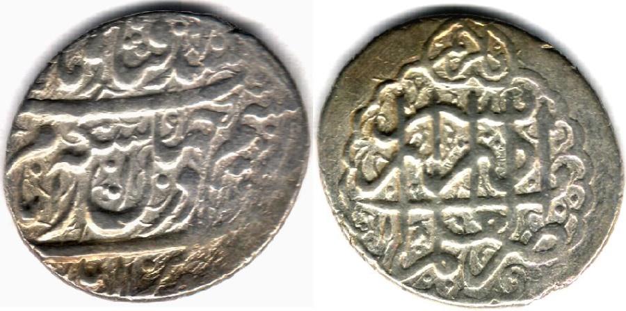 World Coins - ITEM #34141, IRANIAN SILVER COIN, KARIM KHAN ZAND, ABBASI, SHIRAZ (DATED 1180AH) TYPE C, KM #522, ALBUM 2800, NICE STRIKE AND FLAWLESS FLAN