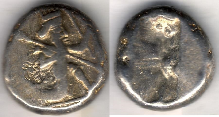Ancient Coins - ITEM #1127, ANCIENT PERSIAN EMPIRE ACHAEMENID KINGS, SILVER SIGLOS, temp. Xerxes II to Artaxerxes II. Circa 420-375 BC., WITH SPEAR AND BOW TYPE, Good Very Fine!!
