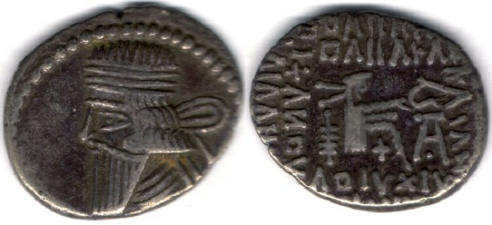 Ancient Coins -        Item #19573, KINGS OF PARTHIA: Vologases III ca 105-147 AD. Drachm (AR; 19X16mm; 3.08gr.) Ecbatana mint, Sellwood 78.4