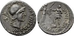 Ancient Coins - CNAEUS POMPEY II. Denarius (46-45 BC). Corduba; Marcus Poblicius, legatus pro praetore.