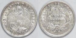 World Coins - CHILE - Republic, 1877 So, ½ Decimo, Almost Uncirculated