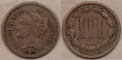 Us Coins - 1881 Three-Cent Nickel, VF-20