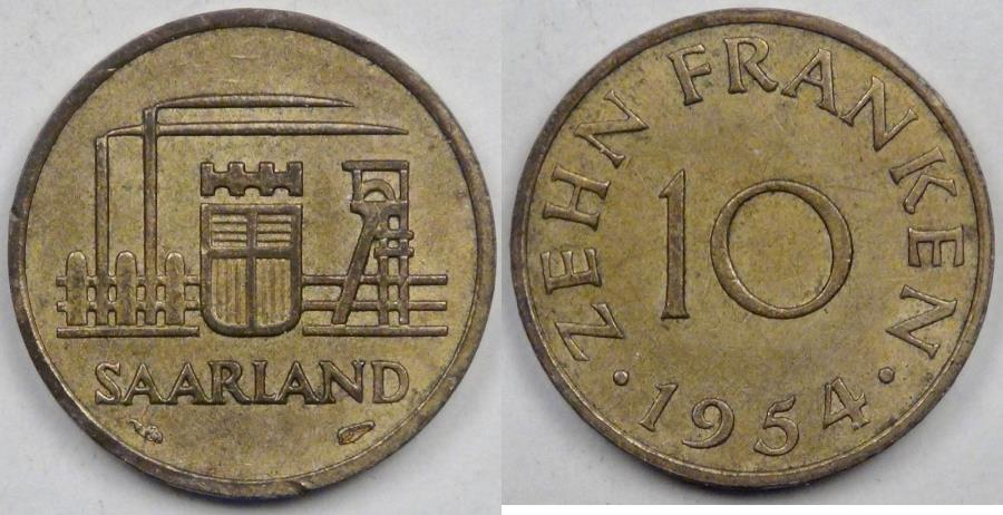 World Coins - SAARLAND - German Republic State, 1954 (a), 10 Franken, Almost Uncirculated