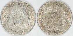 World Coins - BOLIVIA - Republic, 1909 H, 50 Centavos, Choice AU