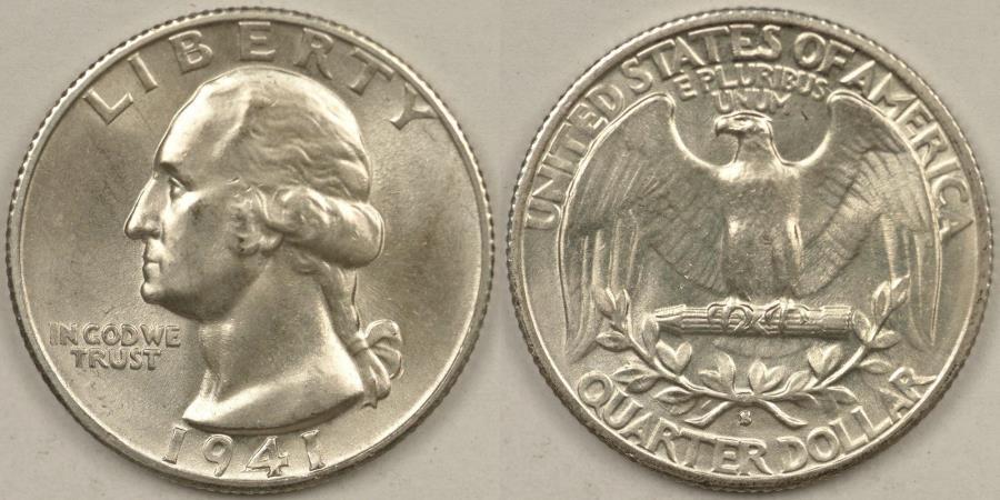 US Coins - 1941-S Washington Quarter, MS-63