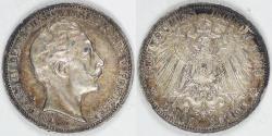 World Coins - GERMANY - Prussia, Wilhelm II, 1912 A, 3 Mark, Choice EF / AU