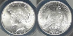 Us Coins - 1925 Peace Dollar graded MS-64 by ANACS