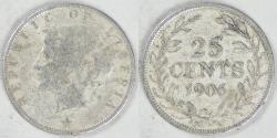 World Coins - LIBERIA - Republic, 1906 H, 25 Cents Fine / VF