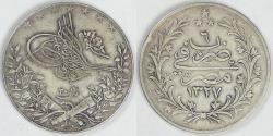 World Coins - EGYPT - Ottoman Empire, Mehmed V, AH1327/6 (1914) H, 20 Qirsh, Very Fine