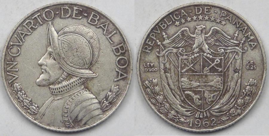 World Coins - PANAMA - Republic, 1962, ¼ Balboa, Very Fine
