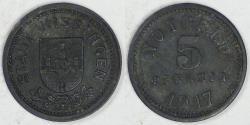 World Coins - GERMANY - Bad Kissingen, Bavaria (Notgeld Coinage), 1917, 5 Pfennig, EF