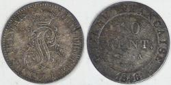 World Coins - FRENCH GUIANA - Colony of Cayenne, Louis Philippe I, 1846 A, 10 Centimes, Choice VF