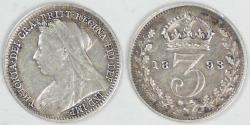 World Coins - GREAT BRITAIN, Victoria, 1893, 3 Pence, Very Fine