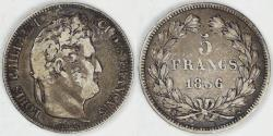 World Coins - FRANCE - 2nd Kingdom, Louis Philippe I, 1836 K, 5 Francs, Choice Fine