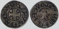 World Coins - FEUDAL FRANCE - Gien (County of Donzy), Geoffrey II (1120-1180), AR Denier, Very Fine
