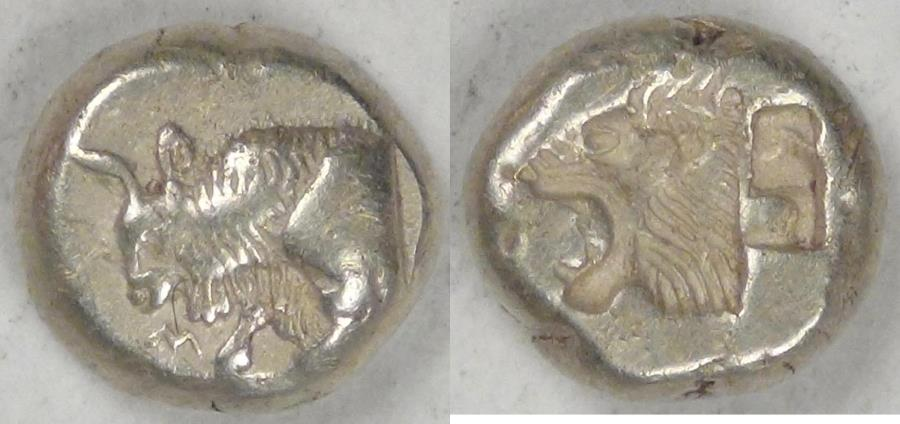 Ancient Coins - LESBOS - Mytilene, circa 521 BC, Electrum Hecte (⅙ Stater), graded Good Very Fine by ACCS