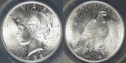 Us Coins - 1922 Peace Dollar graded MS-64 by ANACS