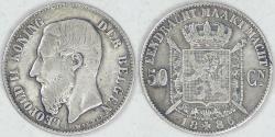 World Coins - BELGIUM - Kingdom, Leopold II, 1886, 50 Centimes, Very Fine