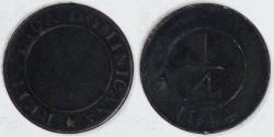 World Coins - DOMINICAN REPUBLIC, 1844 ¼ Real, VF details