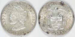 World Coins - COLOMBIA - Republic, 1892, 50 Centavos, Almost Uncirculated