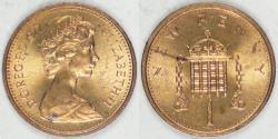 World Coins - GREAT BRITAIN, Elizabeth II, 1977 New Penny, BU