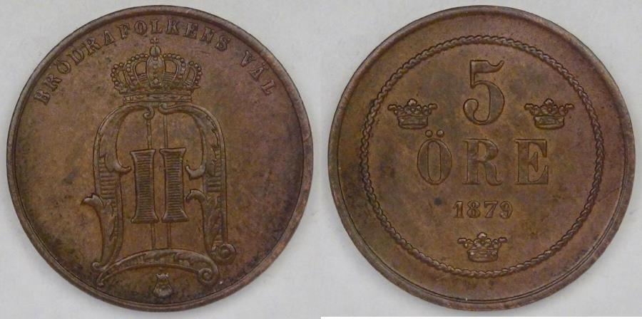 World Coins - SWEDEN, Oscar II, 1879, 5 Ore, Almost Uncirculated