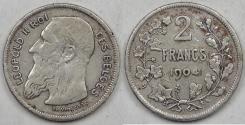 World Coins - BELGIUM, Leopold II, 1904, 2 Francs, Fine