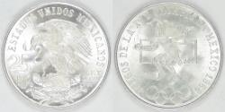 World Coins - MEXICO - Estados Unidos, 1968 Mo, 25 Pesos, Gem BU