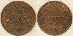 World Coins - GERMANY - Nassau, Adolph, 1862 Pfennig, Choice Very Fine