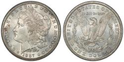 Us Coins - 1887-S Morgan Dollar graded MS-62 by PCGS