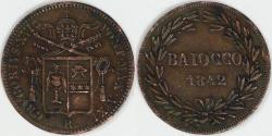 World Coins - ITALY - Papal States, Gregory XVI, 1842 XI R Baiocco, Extra Fine