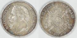 World Coins - FRANCE - 2nd Empire, Napoleon III, 1870 A, 5 Francs, Choice VF / EF