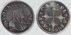 World Coins - ITALY - Pisa, Cosimo III de'Medici, 1721, ½ Giulio (Grosso), about VF